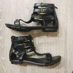 Born Marcia Leather Strappy Gladiator Sandal Black